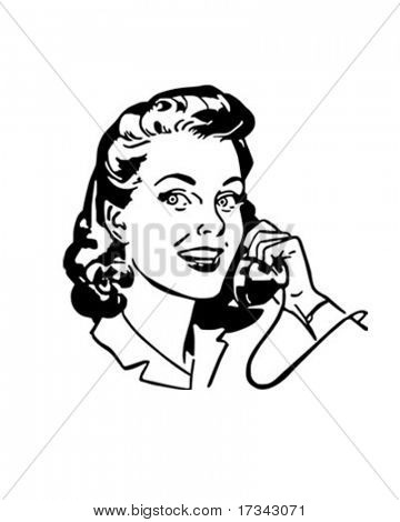 Lady im Chat am Telefon - Retro ClipArt