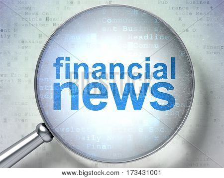 News concept: magnifying optical glass with words Financial News on digital background, 3D rendering