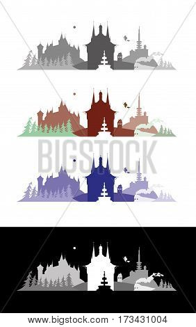 Wernigerode, Saxony Anhalt, Germany skyline illustration town
