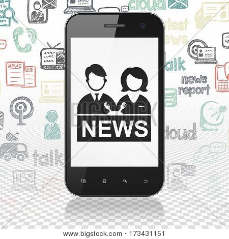 News concept: Smartphone with  black Anchorman icon on display,  Hand Drawn News Icons background, 3D rendering