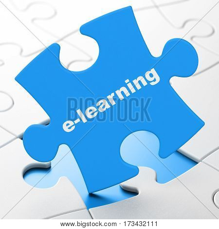 Learning concept: E-learning on Blue puzzle pieces background, 3D rendering