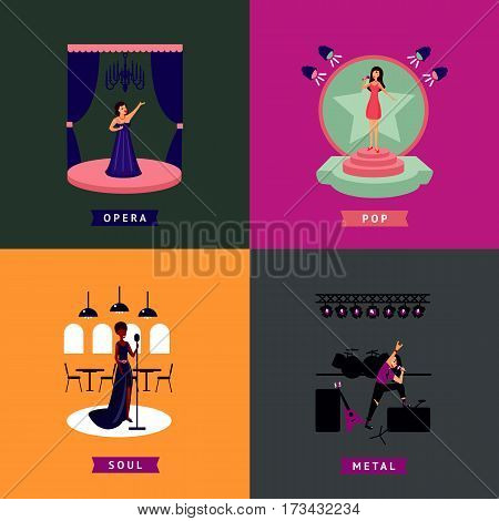 Colorful singing people concept with professional singers of different music styles on stage vector illustration