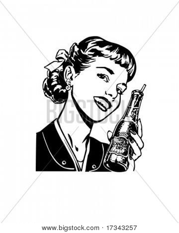 Girl With Soda - Retro Clip Art