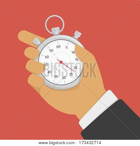 Hand hold stopwatch. Time control, planning or management concept. Businessman holding stop watch. Sport timer vector illustration in modern flat style. EPS 10.