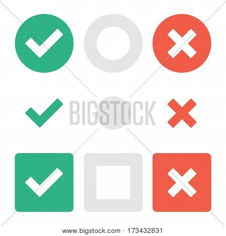 Marks icons set. Checkmark pictograms. Vector confirm and reject design elements. Simple web buttons collection green check mark, red cross and gray neutral. EPS 10.