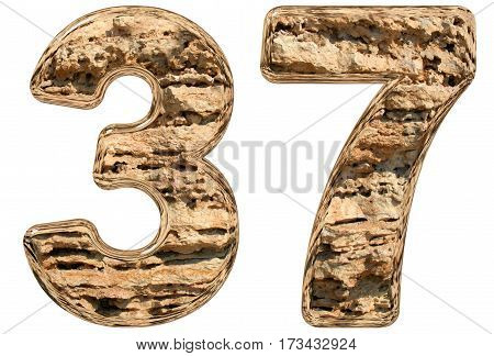 Numeral 37, Thirty Seven, Isolated On White, Natural Limestone, 3D Illustration