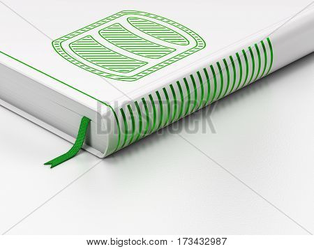 Database concept: closed book with Green Database icon on floor, white background, 3D rendering