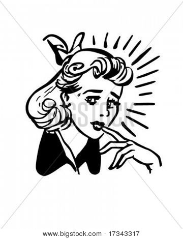 Worried Woman - Retro Clip Art