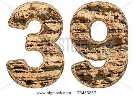 Numeral 39, Thirty Nine, Isolated On White, Natural Limestone, 3D Illustration