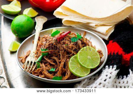 Slow Cooker Chipotle-Honey Pork Tenderloin.. selective focus