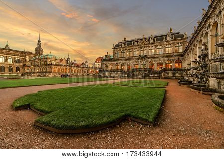 The Porcelain Museum in Dresden in the evening Saxony Germany Europe.