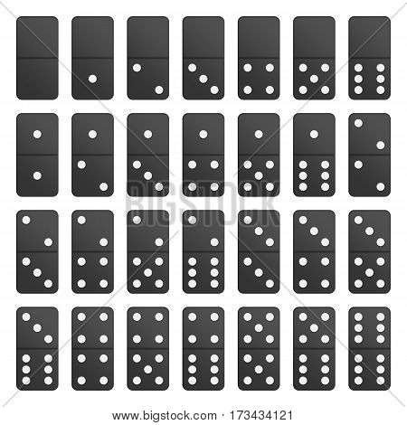 Full Set black domino pieces in realistic style. Dominoes bones complete set isolated on white background. Top view. Vector illustration. EPS 10.