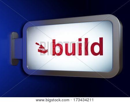 Construction concept: Build and Brick Wall on advertising billboard background, 3D rendering