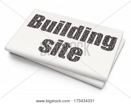Constructing concept: Pixelated black text Building Site on Blank Newspaper background, 3D rendering