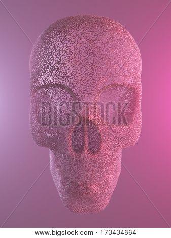 Abstract pink plastic human skull 3d rendering