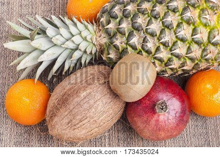 bunch of ripe tropical fruit on the table