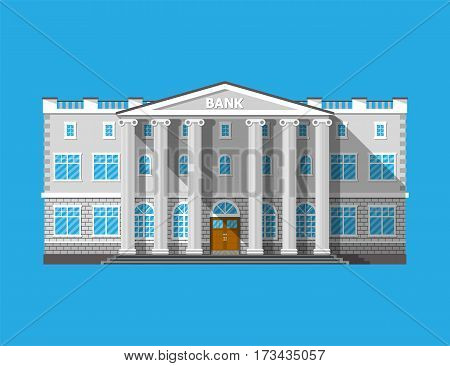Bank building. Financial house isolated on blue. Construction with columns in ancient design. Vector illustration in flat style