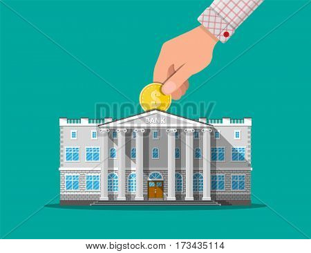 Depositing money in bank account. Hand putting coin into bank building. Vector illustration in flat style