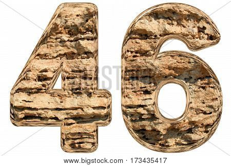 Numeral 46, Forty Six, Isolated On White, Natural Limestone, 3D Illustration