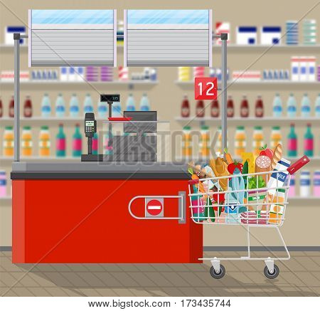 Supermarket interior. Cashier counter workplace. Shopping cart with food and drinks. Shelves with products. Cash register, pos terminal and keypad. Vector illustration in flat style