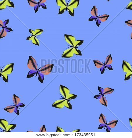 Colorful Butterflies Seamless Summer Pattern on Blue Sky Background
