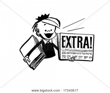 Newspaper Boy - Retro Clip Art