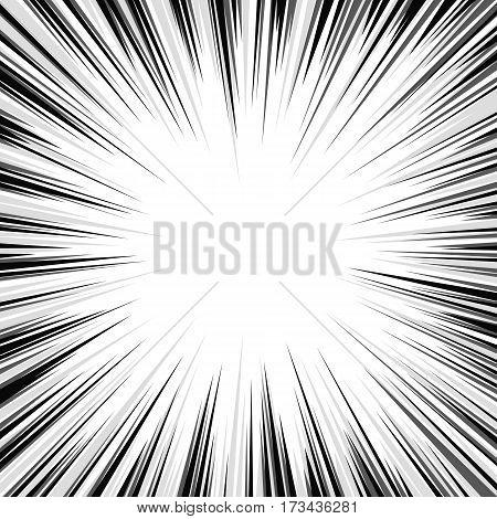 Comic book black and white radial lines background. Manga speed frame, superhero action, flash explosion template. Ray blast glow. Vector illustration superhero design. EPS 10.