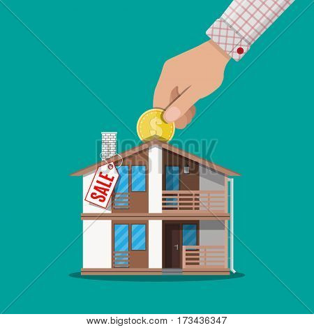 Hand put coin in piggy bank house with price tag. Real estate investment. Vector illustration in flat style