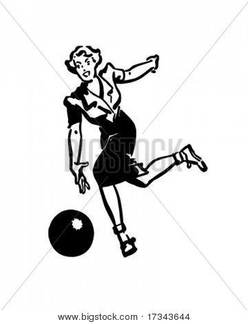 Lady Bowler - Retro Clip Art
