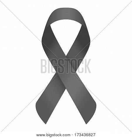 Black ribbon, mourning sign isolated on white background. Melanoma support symbol. Vector illustration in realistic style. EPS 10.