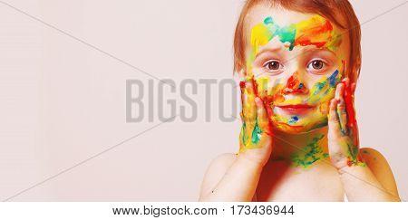 beautiful little baby girl doing make up (Child paint joy)