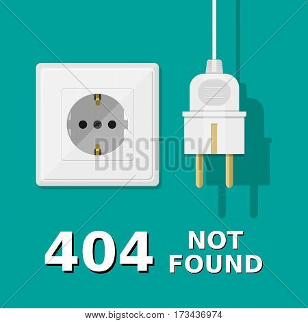 Electrical plug is unplugged into the socket. Error 404. Page not found. Vector illustration in flat style
