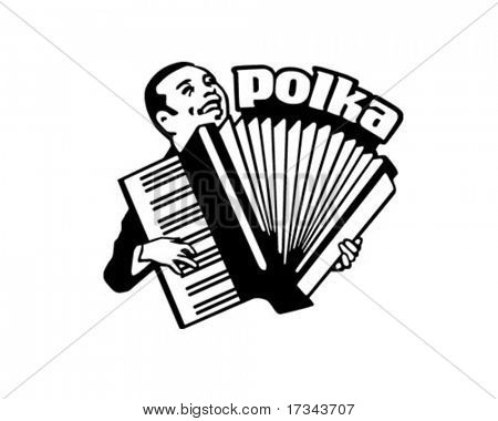 Accordion Man - Retro Clip Art