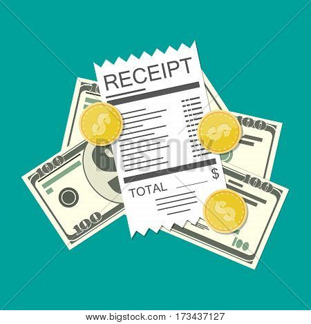 Receipt bill, money cash with dollar banknotes and coins. Paper invoice. Vector illustration in flat