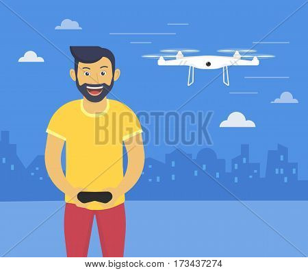 Quadrocopter launching fun illustration of youn smiling man drives flying drone. Flat design of drones usage via remote control console
