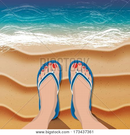 Female legs with red pedicure in flip flops on sand beach and sea. Vector illustration