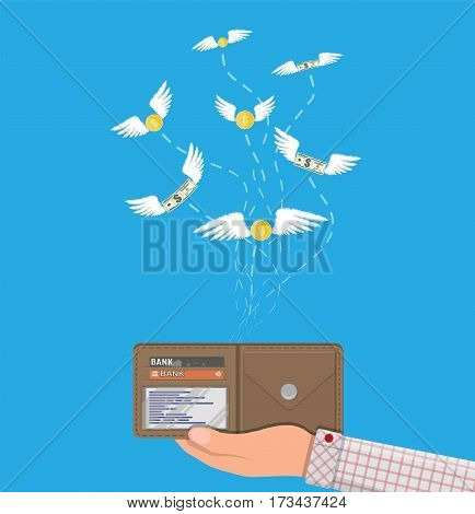 Dollars and coins with wings flying away from hand with wallet. Losing money, overspending, bankruptcy. Vector illustration in flat style