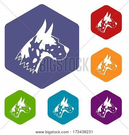 Great dane dog icons set rhombus in different colors isolated on white background
