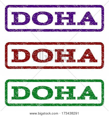 Doha watermark stamp. Text tag inside rounded rectangle with grunge design style. Vector variants are indigo blue red green ink colors. Rubber seal stamp with scratched texture.