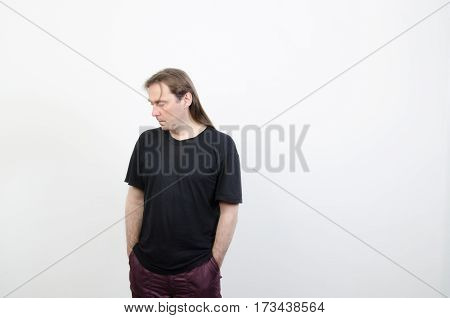 A man is in a black shirt