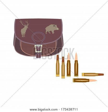 Vector illustration of hunting bag and bullets for rifle isolated on white background flat style design