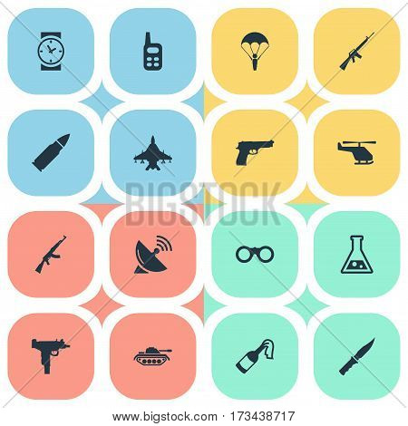 Set Of 16 Simple War Icons. Can Be Found Such Elements As Kalashnikov, Walkies, Chemistry And Other.
