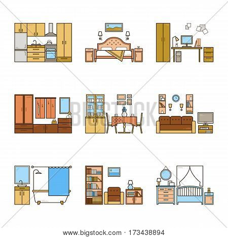 Set of vector interior design rooms in line colorful style. Harmonic illustration of living room, hallway, dining room, bedroom, kitchen, nursery, cabinet, workspace, bathroom