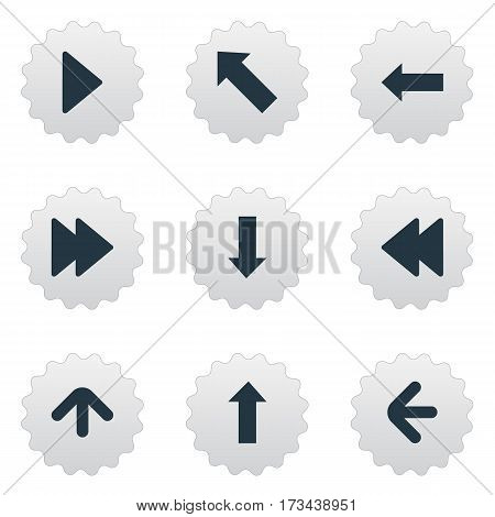 Set Of 9 Simple Cursor Icons. Can Be Found Such Elements As Advanced, Left Direction, Downwards Pointing And Other.