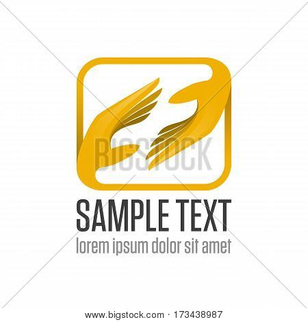 Two hand logo. Friendship Partnership, support or team work Business logotype icon. Help and care symbol. The symbol of mutual aid and supporting. Vector illustration EPS 10.