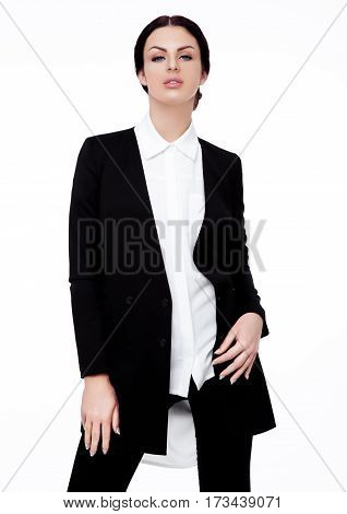 Business Woman office fashion girl in black suit .Shot in studio on white background.