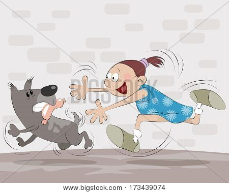 Vector illustration of a girl catches dog