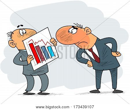 Vector illustration of a clerk and boss