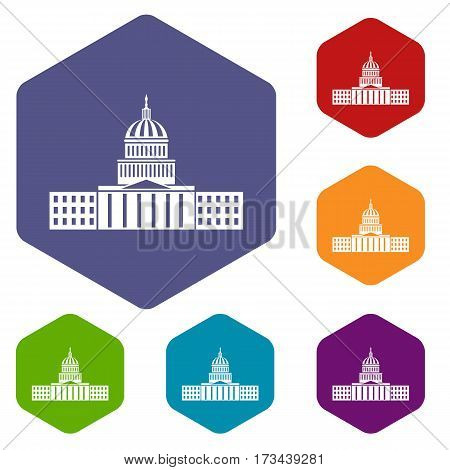 Capitol icons set rhombus in different colors isolated on white background