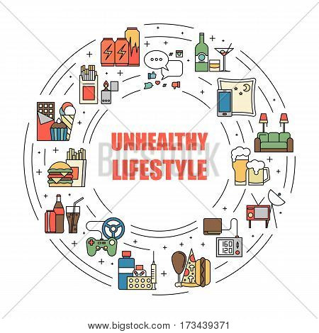 Unealthy lifestyle habits colorful line vector icons isolated. Fast junk food, bag habits, waste of time. Obesity and bad health circle illustration